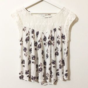 Lucky Brand Floral Knit and Lace Cap Sleeve Top